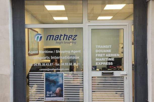 Bureau Mathez Transports Internationaux, au centre ville de Cannes