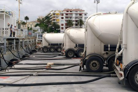 Loading a cement carrier, Port of Nice