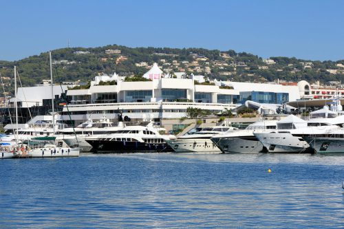 The Palais des Festivals seen from the Port of Cannes