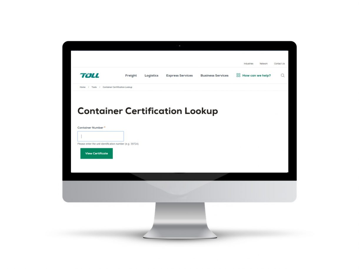 Toll Container Certification Lookup